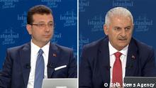 Der Junger Man: Ekrem İmamoğlu, CHP Alter: Binali Yıldırım AKP Die sind die zwei Bürgermeister Kandidat zur İstanbul Die sind von DHA News Agency.