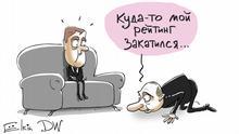 Das Ranking von Putin ist laut Umfrage gesunken Sergey Elkin Karikatur