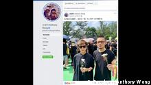 Screenshot Facebook Anthony Wong Hongkong Proteste