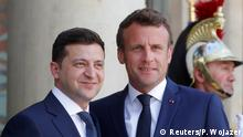 French President Emmanuel Macron meets Ukrainian President Volodymyr Zelenskiy at the Elysee Palace in Paris, France June 17, 2019. REUTERS/Philippe Wojazer