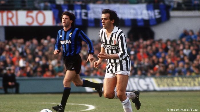 Michel Platini on the ball, playing for Juventus against Inter Milan in a 1987 Serie A match. (Imago Images/Buzzi)