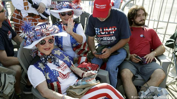 Supporters of US President Donald Trump waiting to join a rally announcing the official launch of his 2020 reelection campaign in Orlando, Florida