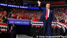 US President Donald Trump arrives to speak during a rally at the Amway Center in Orlando, Florida to officially launch his 2020 campaign on June 18, 2019. (Photo by MANDEL NGAN / AFP) (Photo credit should read MANDEL NGAN/AFP/Getty Images)