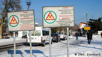Warning signs on the approach to the Chernobyl nuclear reactor site in Ukraine