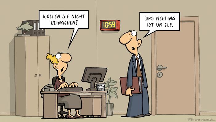Comic von Fernandez Verstehen Sie Deutsch? Pünktlichkeit DEUTSCH
