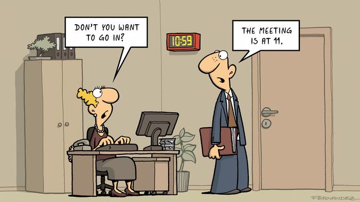 Fernandez cartoon - a man discussing a meeting's beginning with a secretary