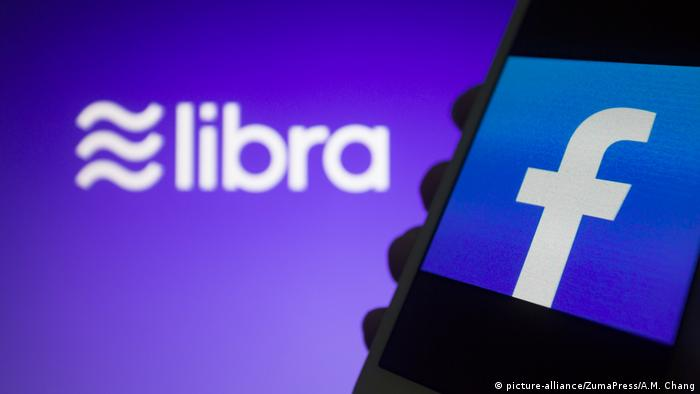 Logos for Facebook and its cryptocurrency Libra