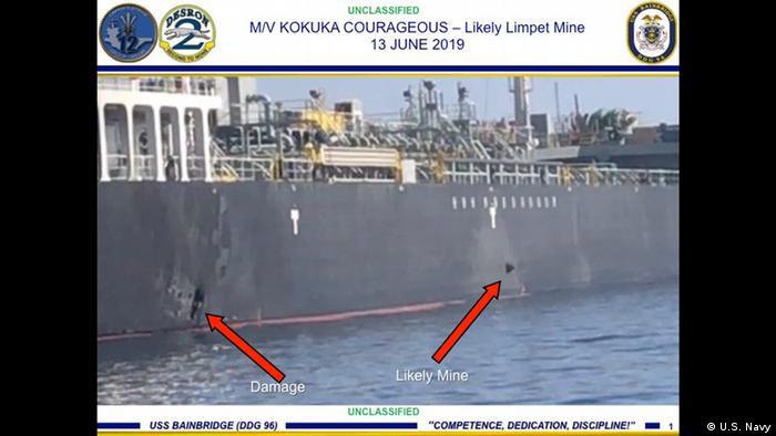 U.S. Navy Handout Angeb. Beweisfotos Haftminen Öltanker