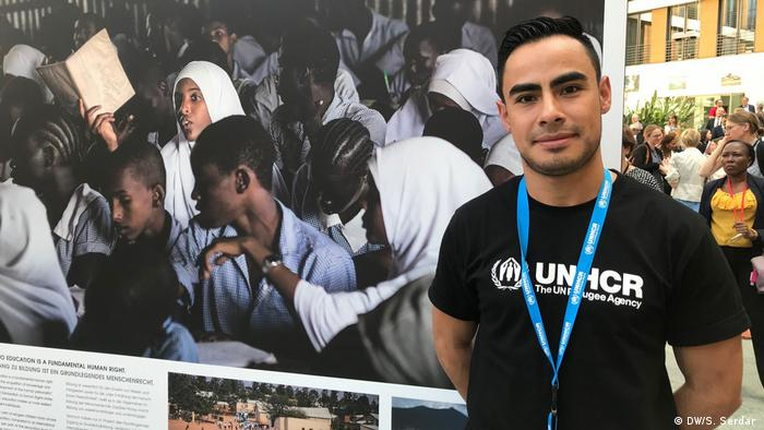 A UN-run Einstein Initiative scholarship recipient at a refugee education conference in Berlin (DAFI Alumni Oscar Javier Garcia Suarez )