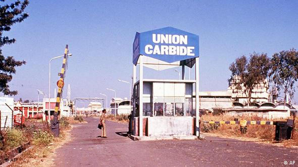 Entrance to the US-owned Union Carbide plant, in Bhopal, India