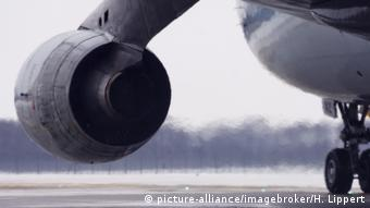 An airplane turbine emits fumes