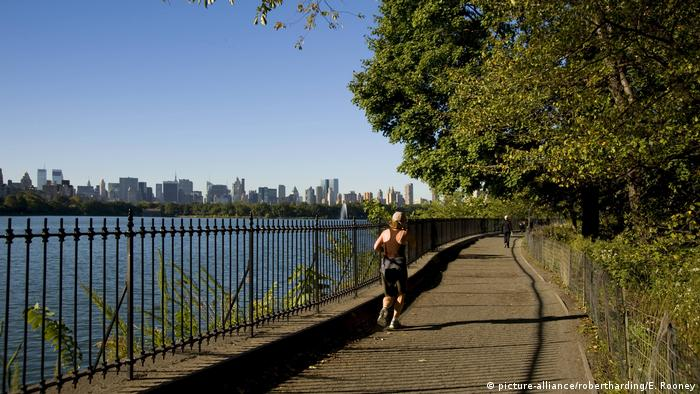 A man jogs through Central Park in New York