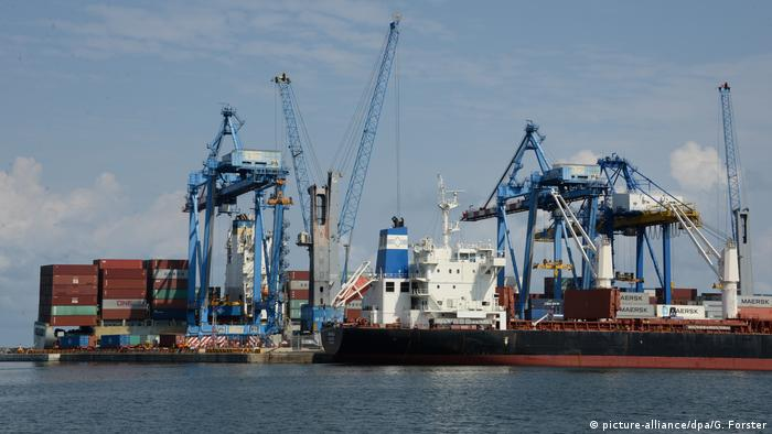 Container ship dock in Accra