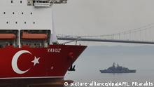 Turkey's 230-meter (750-foot) drillship 'Yavuz' escorted by a Turkish Navy vessel, crosses the Marmara Sea on its way to the Mediterranean, from the port of Dilovasi, outside Istanbul, Thursday, June 20, 2019. Turkey had launched Yavuz, that it says will drill for gas off neighboring Cyprus despite European Union warnings to refrain from such illegal actions that could incur sanctions against Ankara. (AP Photo/Lefteris Pitarakis)  