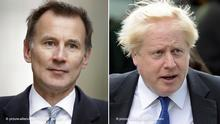 ARCHIV - 20.06.2019, Großbritannien, London: KOMBO - Jeremy Hunt (l), Außenminister von Großbritannien, und Boris Johnson, ehemaliger Außenminister von Großbritannien. Hunt tritt gegen den Favoriten Johnson im Rennen um das Amt des britischen Premierministers und Parteivorsitzenden der Konservativen an. Foto: Matt Dunham/AP/dpa +++ dpa-Bildfunk +++ |