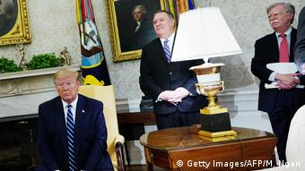 US President Trump, with Mike Pompeo and John Bolton