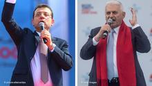Bildkombo Binali Yildirim und Ekrem Imamoglu Türkei Wahlen