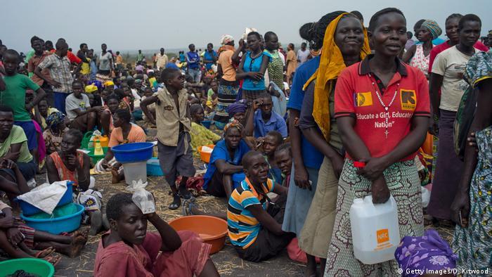 Refugees at the Bidibidi settlement in Uganda