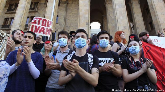 Demonstrators in Tbilisi