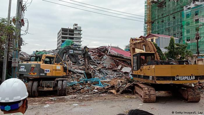 The collapsed building in Sihanoukville