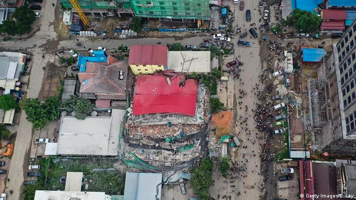 Aerial shot of building collapse