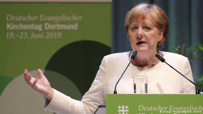 Chanceler federal alemã, Angela Merkel, durante discurso em Dortmund