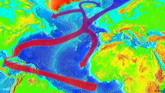 An image depicting changing currents in the Atlantic Ocean (NGDC)