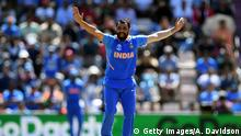 SOUTHAMPTON, ENGLAND - JUNE 22: Mohammed Shami of India appeals for the wicket of Hazratullah Zazai of Afghanistan during the Group Stage match of the ICC Cricket World Cup 2019 between India and Afghanistan at The Hampshire Bowl on June 22, 2019 in Southampton, England. (Photo by Alex Davidson/Getty Images)