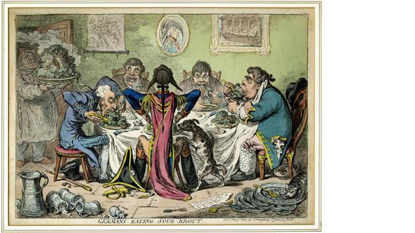 Офорт Немцы, поедающие кислую капусту английского карикатуриста Джеймса Гилрея (1803)