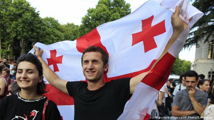 Protesters in Tbilisi