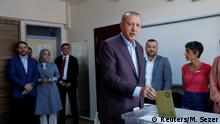 Turkish President Tayyip Erdogan casts his ballot at a polling station in Istanbul, Turkey, June 23, 2019. REUTERS/Murad Sezer