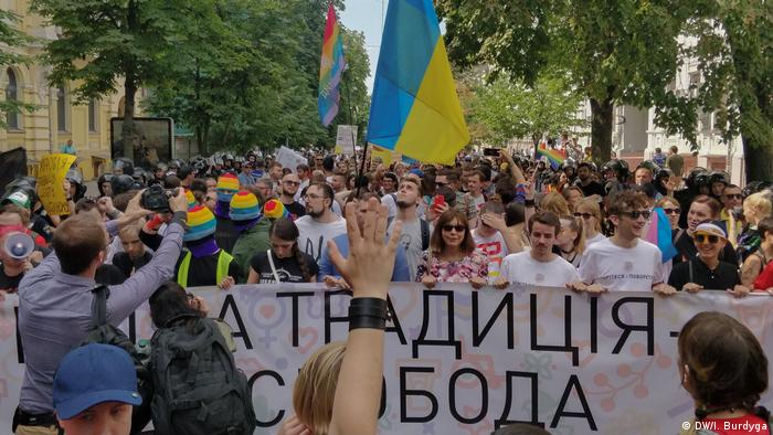 Supporters of LGBT rights march in Kyiv's Gay Pride parade
