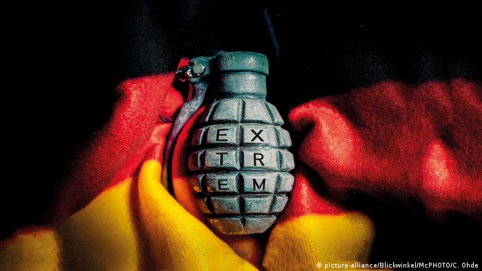 Handgrenade bearing the word, Extreme, set on a German flag