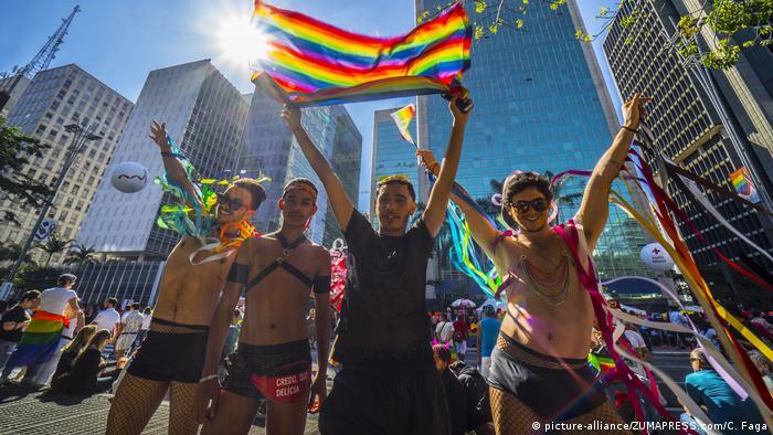 People attend the 2019 Gay Pride Parade in Sao Paulo, Brazil (picture-alliance/ZUMAPRESS.com/C. Faga)