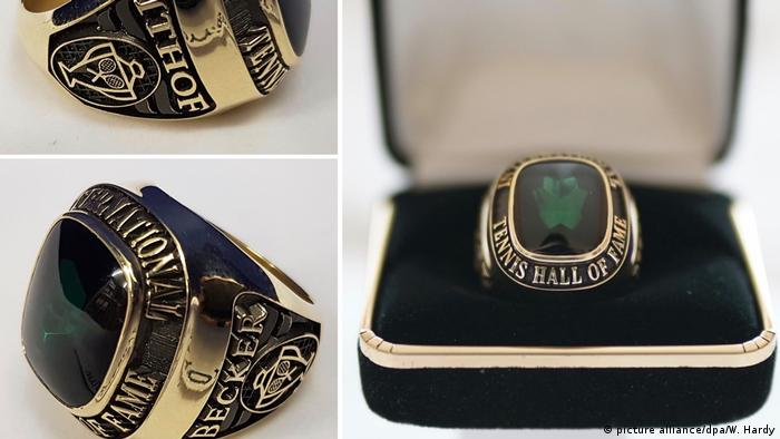 """A Custom Made 31g Gold Ring Set with A Green Stone bearing the words """"International Tennis Hall of Fame."""" Presented to Boris Becker at the 2018 Monte-Carlo Masters for his induction into the International Tennis Hall of Fame in 2003. (picture alliance/dpa/W. Hardy)"""