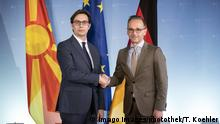 German Foreign Minister Heiko Maas greeting the President of North Macedonia
