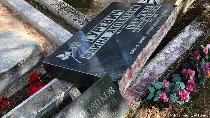 An overturned grave in Estonia's Jewish cemetary