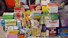A picture taken on September 15, 2015 shows medicines on sale in a market in Abidjan. AFP PHOTO / ISSOUF SANOGO (Photo credit should read ISSOUF SANOGO/AFP/Getty Images)