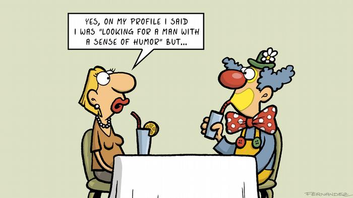 Fernandez cartoon That´s so German: a woman having a drink with a clown