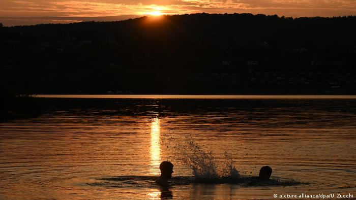 Heat in Germany - Edersee bathing at sunset