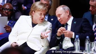 Ангела Меркель и Владимир Путин во Франции, 2018 год