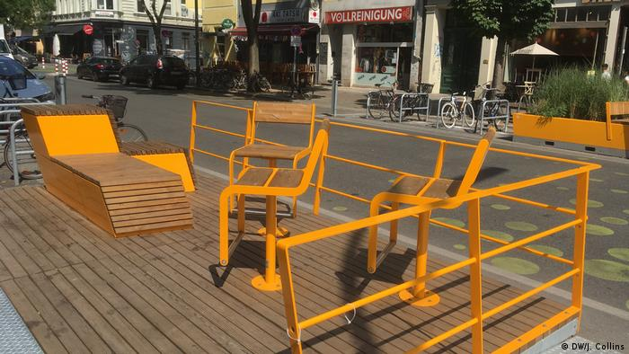 Yellow furniture on the street