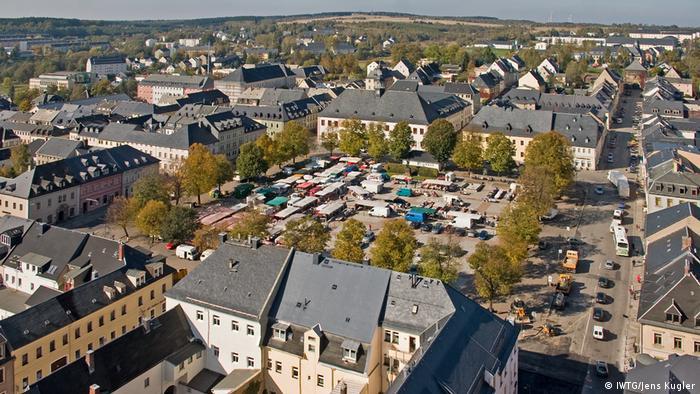 Vogelperspektive von der Altstadt von Marienberg, Erzgebirge - Aerial Photo (IWTG/Jens Kugler)