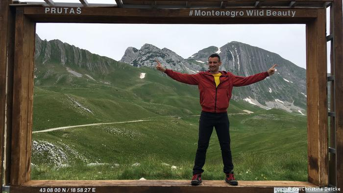 Tourists can pose in a huge picture frame in the Durmitor Mountains