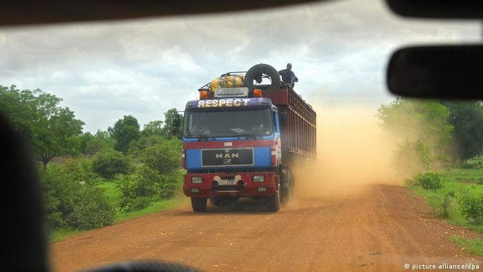 Truck on the road in Africa