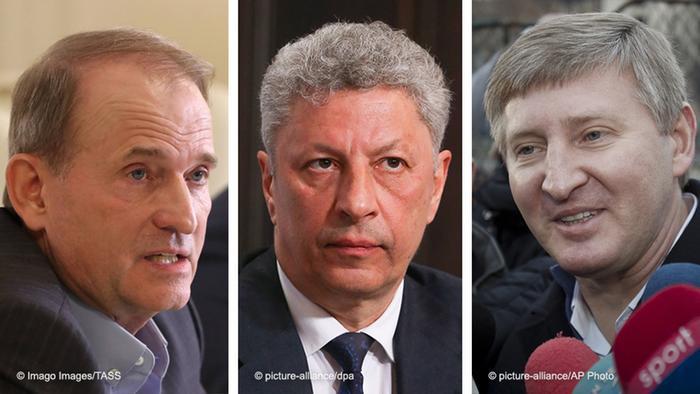 Віктор Медведчук (ліворуч), Юрій Бойко (у центрі), Рінат Ахметов (праворуч)