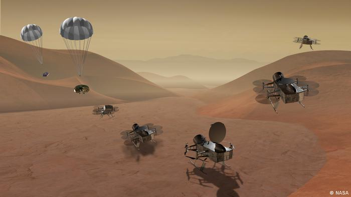 An artist's impression of the Dragonfly drone mission on Titan