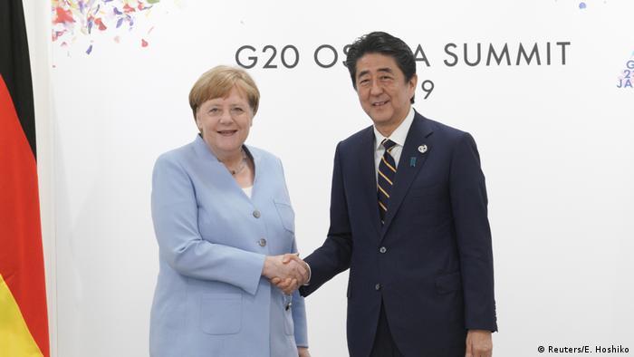 Kanclerz Niemiec Angela Merkel i premier Japonii Shinzo Abe