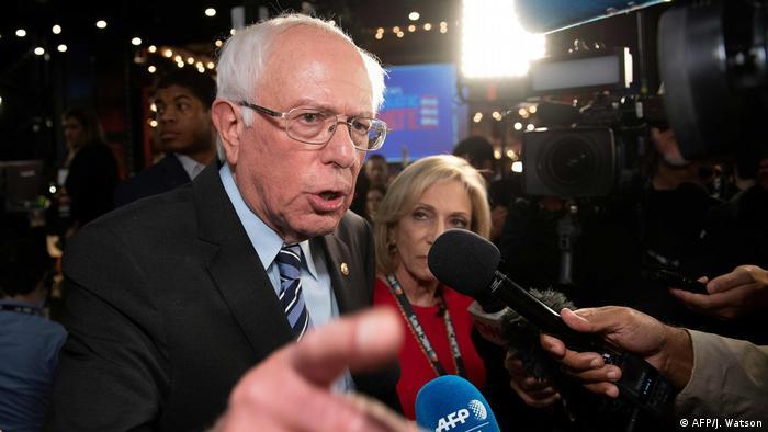 Bernie Sanders speaking with reporters after a presidential primary debate