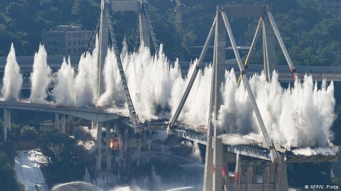 Sprengung der Morandi-Brücke am 28. Juni 2019